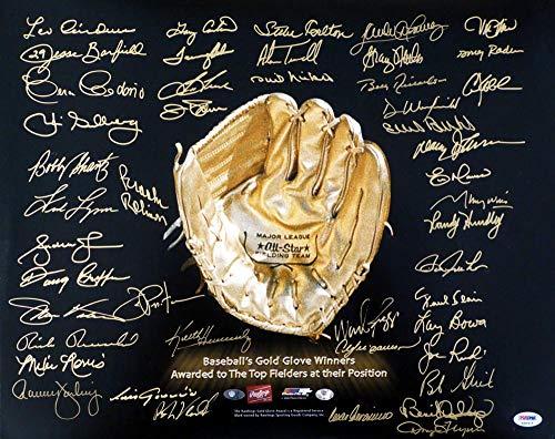 graphed Photo - Gold Glove Winners Multi 16x20 GG 45 Signatures Ozzie Smith Aparicio Carter Palmer Carlton Winfield & Dawson - PSA/DNA Certified ()