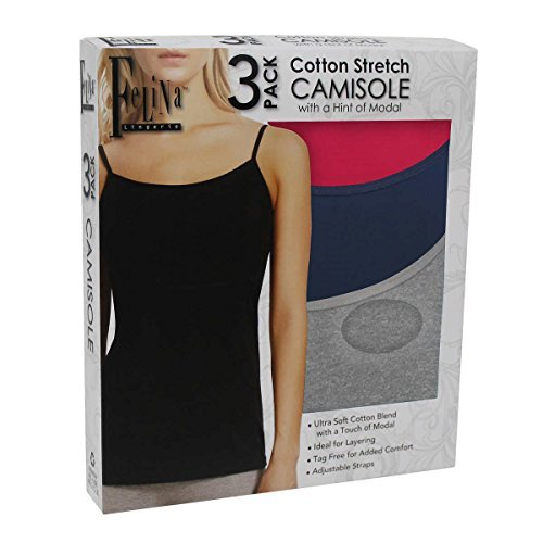 Stretch Cotton Camisole - Felina Ladies' Cotton Stretch 3-pack Camisole (X-Large, Navy/Fuschia/Lt.Gray)