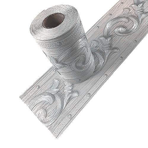 - Taamall Silver Flower 3D Wallpaper Border Peel & Stick PVC Wall Covering Kitchen Bathroom Bedroom Tiles Decor Sticker,4 Inch by 16.5 Feet