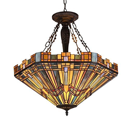 Chloe Lighting CH36432MS24-UH3 Tiffany Saxon, Tiffany-Style 3 Light Mission Inverted Ceiling Pendant Fixture 24 Shade, Multi by Chloe ()