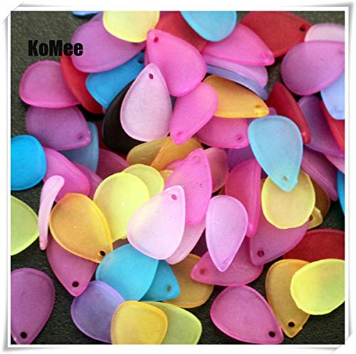 (Pukido 1217mm 500pcs Frosted White Lucite Flower Petal Beads FIT for Jewelry DIY - (Color: Multi))