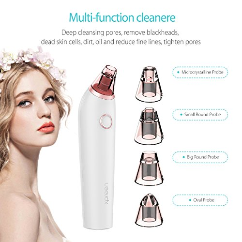 Blackhead-Remover-Xpreen-Pore-Cleaner-Rechargeable-Microcrystalline-IPL-Comedo-Remover-with-4-Multi-Functional-Probe-Blackhead-Extractor-Especially-for-AcneFett-Facial-Pore-Clean-White