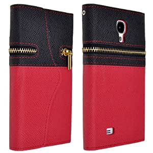NEEWER® Faux Leather Wallet Flip Case Cover Card Holder With Zipper For Samsung Galaxy S4 I9500 (Black and Red)