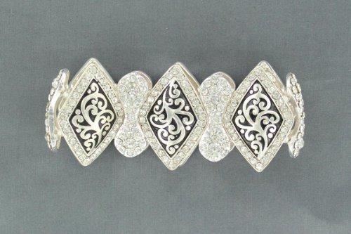 Blazin Roxx Women's Embellished Diamond-Shaped Concho Stretch Bracelet Silver One Size