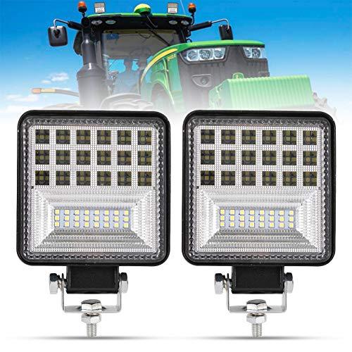 4 Inch LED Work Light - 2Pcs 8000LM Spot & Flood Combo Beam LED Light Bar for Tractor Vehicle Truck Jeep ATV UTV SUV Boat, 1 Year Warranty
