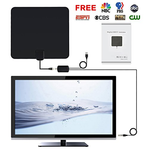 HDTV Antenna Indoor with Amplified Digital TV Antenna for 1080P HD VHF UHF Freeview Efficient Reception, 50-Mile Range (Satellite Receiver Mount)