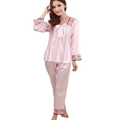 f9745cc8c598 FAPIR Womens Satin Silk Long Sleeve Sleepwear Nightwear Pajama Set   Amazon.co.uk  Clothing