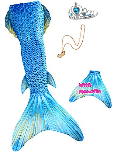YITU Mermaid Tail for Swimming with Monofin Cosplay Costume Swimsuit with Crown and Necklace 4PCS for Girls and Kids (Fresh Water blue1-120)