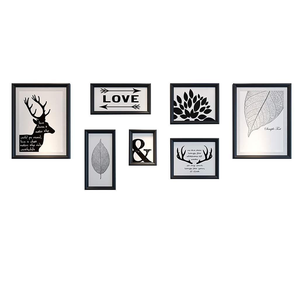 黒額縁セットフォトウォール、モダンなミニマリストの写真の壁の装飾ヨーロッパスタイルのリビングルームの写真の壁クリエイティブアメリカンフォトフレームぶら下げ壁様々なスタイルの組み合わせ  A B07TG7XDRJ