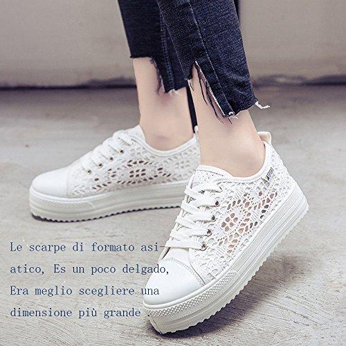 42 Zapatos Blanco Mujer 1 Arriba Depotiva Eligen 3 Plataforma Delgado Zapatillas Tamaño Pls Blanco modelo 8cm Negro 35 Verano Talón 2 7IPqf4