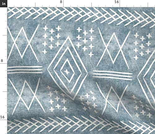 Spoonflower Textured Morocco Style Fabric - Large Scale Tribal Boho Bohemien Mudcloth Native Traditional Pattern Mark Making by Littlearrowdesign Printed on Eco Canvas Fabric by The Yard