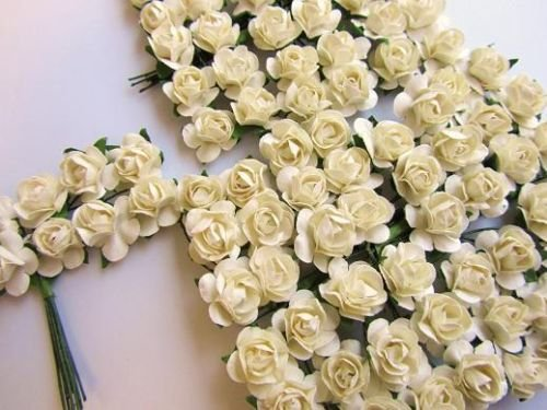 (144 Mulberry Paper Rose Flower Bouquet/wire stem/scrapbooking/wedding H420-Ivory US Seller Ship Fast)