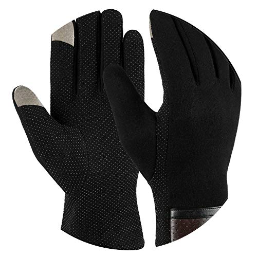 (Winter Warm Gloves Touch Screen Gloves Casual Gloves Mittens for Men Women,Antislip plam black2,M)