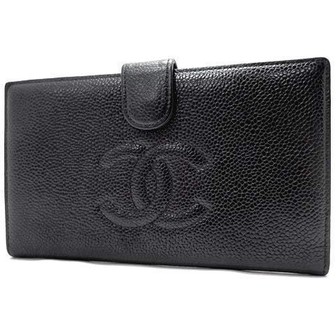 e59565212f19 CHANEL(シャネル) 長財布 がま口財布 ココマーク レザー ブラック黒 ゴールド金具 レディース