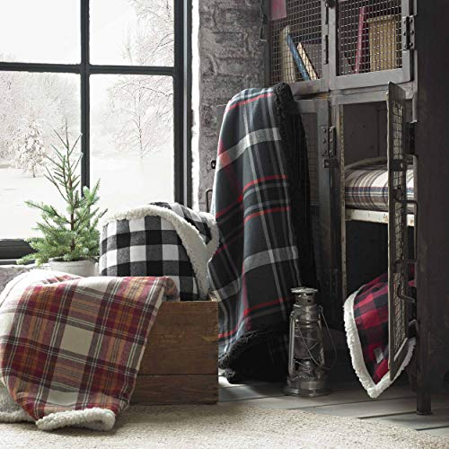 Eddie Bauer Home | Flannel Collection | Throw Blanket-Reversible Sherpa Fleece Cover, Soft & Cozy, Perfect for Bed or…