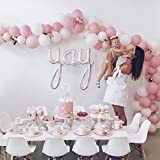 12'' 3.2 Helium Quality Matte Latex Balloons - Light Pink And White. Perfect For Any Special Occasion,Baby Shower &1st Birthday Girl, Sweet Sixteen & Bridal Shower And Other Parties -100 Count.