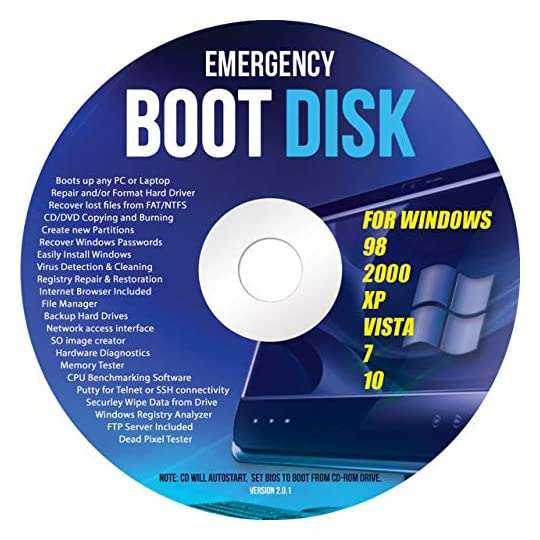 Ralix Windows Emergency Boot Disk – For Windows 98, 2000, XP, Vista, 7, 10 PC Repair DVD All in One Tool (Latest Version…