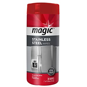Magic Stainless Steel Wipes - Removes Fingerprints, Residue, Water Marks and Grease From Appliances - Works Great on Refrigerators, Dishwashers, Ovens and More - 30 Count (1)