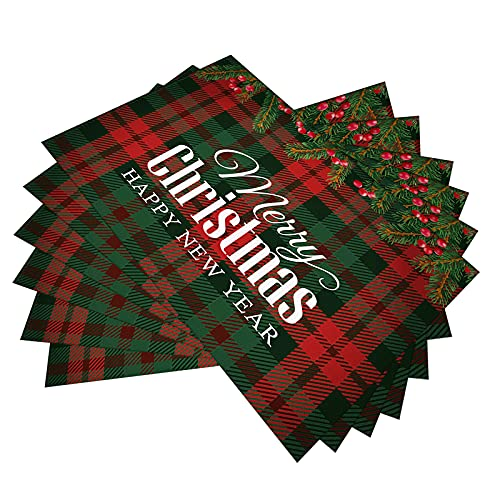 """Buffalo Plaid Merry Christmas Placemats Set of 6,Red and Green Buffalo Plaid Placemats,Waterproof and Non-Slip Buffalo Check Placemats Decoration for New Year,Holiday Party Family Dining 12""""×18"""""""