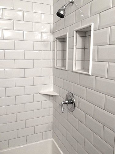 4X8 Soft White Wide Beveled Subway Ceramic Tile Backsplashes Walls Kitchen Shower (25 pack) by Squarefeet Depot