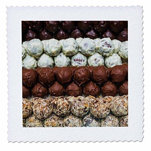 3dRose Danita Delimont - Food - Belgium, Bruges. Truffles at a belgian chocolate shop - 16x16 inch quilt square (16 Belgian Chocolate)