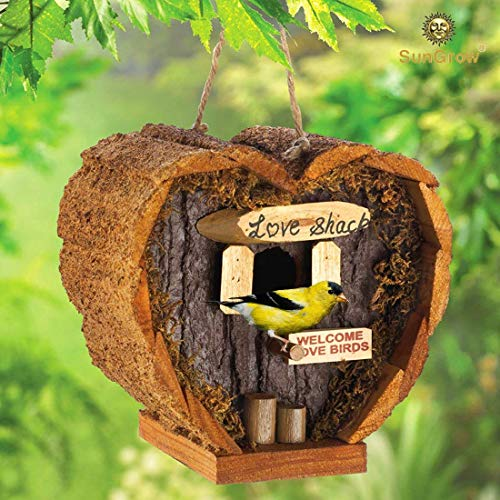 Heart Shaped Birdhouse - Decorative Rough Wood - Little Log Cabin Birdhouse for Newlyweds, Engagement, Housewarming, Honeymoon - Love Shack for Love Birds - Wooden Bird Feeder