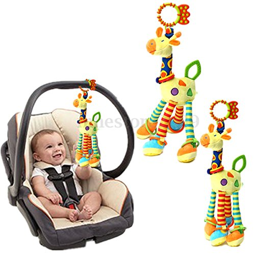 Lovely Giraffe Animal Hand bells Developmental Toy Bed Bells Kids Baby Soft Toys Rattle (Hats Accordian)