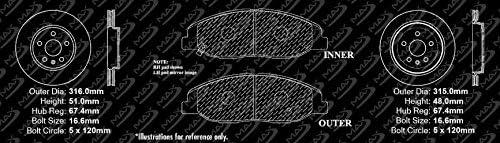 2008-2013 Cadillac CTS JE5 Premium Cross Drilled Rotors + Ceramic Pads KT098623 Fits Max Brakes Front /& Rear Performance Brake Kit