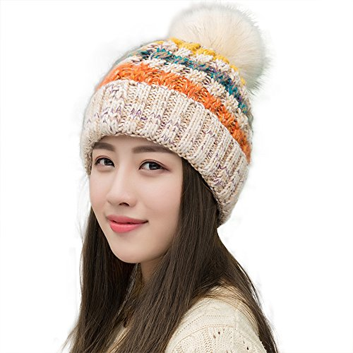(Ypser Women's Winter Slouchy Knitted Hat Cable Faux Fur Pom Beanie Hat,Beige,One Size)