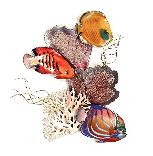 "Blue Ring, Flame Angel, Golden Butterfly Fish Coral, Enamel Glass Copper Metal Wall Art, Large Metal Wall Art in Modern Tropical Design, 3D Wall Art for Modern and Contemporary DŽcor, 16"" x 15Ó made in New England"