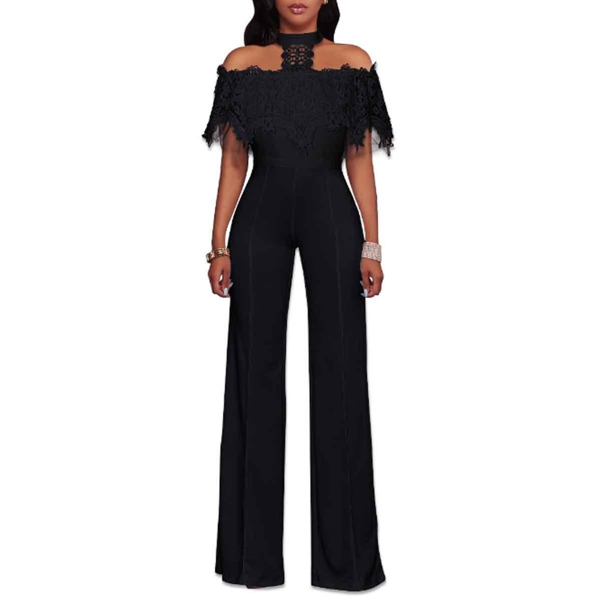 e70341a8f02 Amazon.com  HELIDA Womens Off Shoulder Lace Halter High Waist Wide Leg Pants  Jumpsuit Romper  Clothing