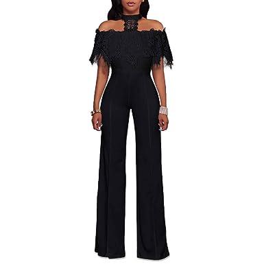 176e87c6905e Amazon.com  HELIDA Womens Off Shoulder Lace Halter High Waist Wide Leg  Pants Jumpsuit Romper  Clothing