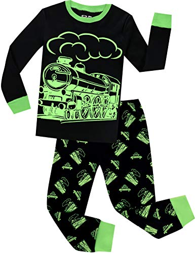 Boys Train Pajamas Christmas Pjs for Boys Sleepwear Children Clothes Glow in The Dark Size 10 ()