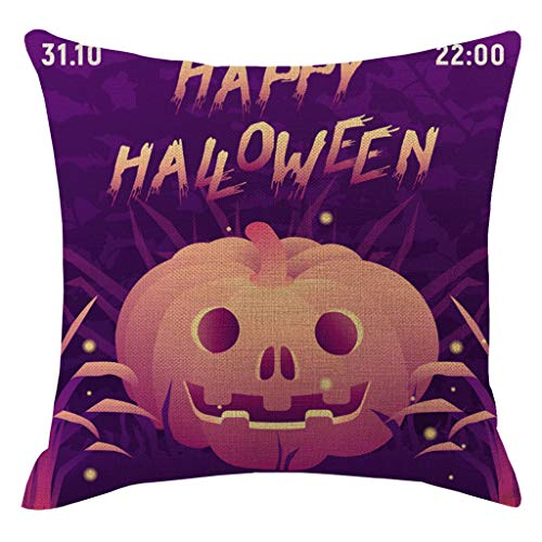 Jocome Throw Pillow Case,Halloween Pumpkin Pillowcases Decorative Sofa Cushion Cover Throw Pillow Covers Wall Paint Music Notes Decorative Square Pillow Case -