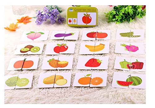 [Baby Infant 32pcs Flash Card Jigsaw cognition puzzle Shape Matching Puzzle Cognitive Learning Early Education Card Learning Toys in a Box - Fruits & vegetables] (Homemade Halloween Gifts For Students)