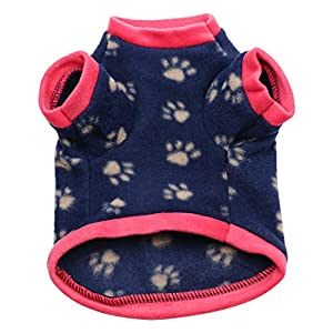 Idepet Warm Pet Dog Sweater with Paw Print Soft Fleece Puppy Clothes for Small Dog Boys Girls Teddy Chihuahua Yorkshire Poodle Pug Pomeranian Shih Tzu Beagle (M)
