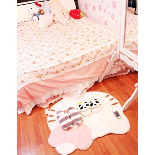Lovely Big Head Hello Kitty Fuzzy Floor Cushion Mat Pad Bedroom Decoration Footcloth Rug 1 PC White