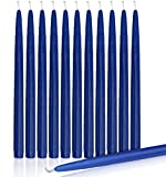 Higlow Dripless Taper Candles 8'' Inch Tall Wedding Dinner Candle Set of 12 (Royal Blue)