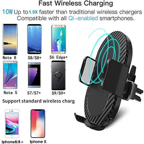 Wireless Car Charger, 2 in 1 10W Fast Wireless Charger Air Vent & Bracket Phone Holder for iPhoneX/8/8 Plus, Samsung Galaxy S9/S9+/Note 8/S8/S8 Plus/S7/S6 Edge All Qi Enabled. by DRTJ (Image #5)