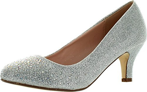 Bonnibel Wonda-1 Womens Round Toe Low Heel Glitter Slip On Dress Pumps,Silver,6.5