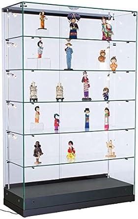 Gentil Displays2go Retail Display Cabinets With Lights, Tempered Glass Shelves,  MDF Base U2013 Clear,