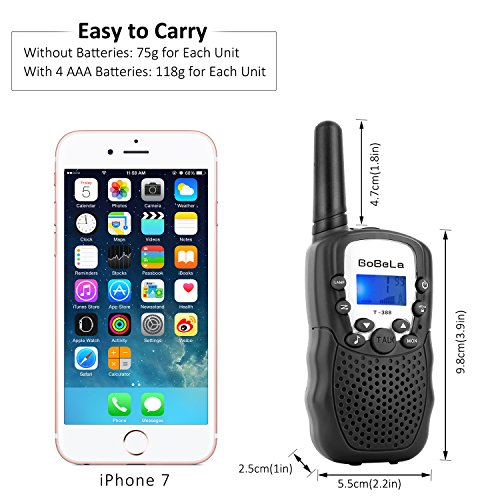 Bobela Walkie-Talkies 4 Pack for Adults Travel - T-388 Black Handheld Walky-Talky with Flashlight for Parents Kids - 2-Way-Radio with Mic PTT Clip Long Range for Baby Teen Boy Girl Him Family as Gifts by Bobela (Image #3)