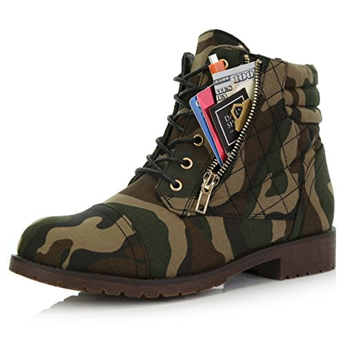 DailyShoes Women's Military Lace Up Buckle Combat Boots Ankle High Exclusive Credit Card Pocket, Camouflage Cv, 7.5