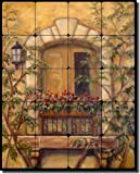 Tuscan Floral Tumbled Marble Tile Mural Backsplash 20'' x 16'' - Chianti Stone Door by Joanne Morris Margosian