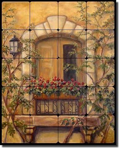 Tuscan Floral Tumbled Marble Tile Mural Backsplash 20