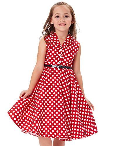 GRACE KARIN Girls Retro Sleeveless Floral Print Swing Dresses with Belt (15-16 Years, ()
