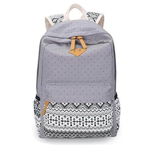 Mochila de gran capacidad del lunar de la moda geométrico mochilas de lona de ocio para las muchachas adolescentes escuela de los muchachos (negro) Gris