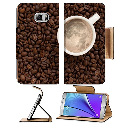 MSD Premium Samsung Galaxy Note 5 Flip Pu Leather Wallet Case Moon in coffee cup with full Note5 Image ID 24472139