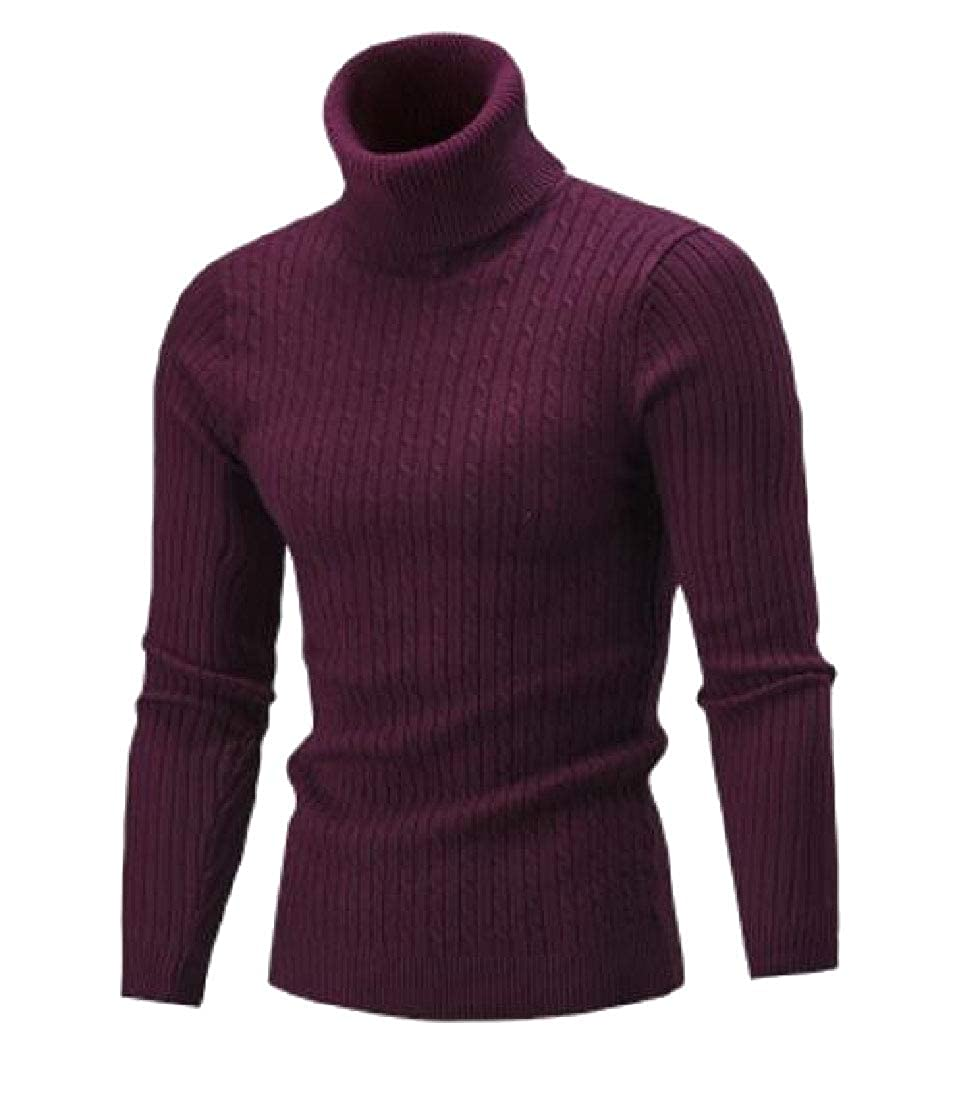 M/&S/&W Mens Knitted Sweater Slim Fit Turtleneck Top Pullover