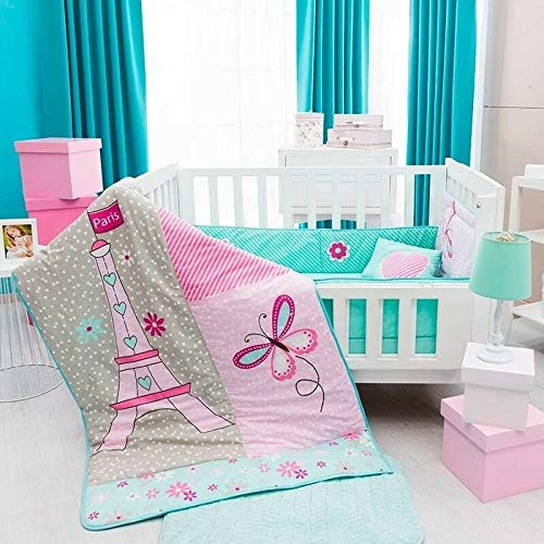 DreamPartyWorld Eiffel Tower Paris Baby Girls Crib Bedding Set Nursery Set Gift Bedding Pink 100% Cotton